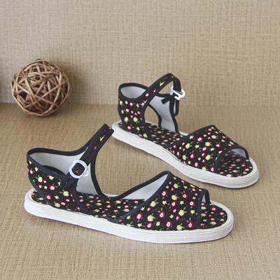 女士布底凉鞋夏季防滑扣带透气中老年妈妈老北京千层底凉拖鞋女夏