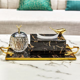 Home accessories soft suit matching set Living room coffee table black marble pattern tray gold tissue box set
