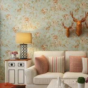 米冠美式复古墙纸 乡村田园大花 卧室客厅沙发电视背景墙纯纸壁纸