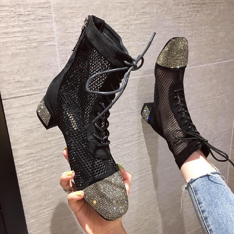 网面透气粗跟女靴新款水钻中跟前系带舒适短靴时尚欧美气质女鞋潮