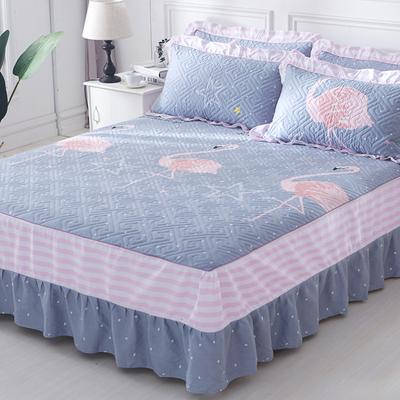 纯棉夹棉单件床罩床裙式 加厚保护1.5米1.8m防滑防尘全棉床套床单