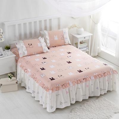 鸣人夏季纯棉床裙 韩版小花边全棉床罩式1.5米床笠1.8米床单单件