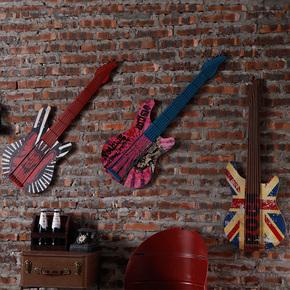 创意复古铁艺吉他墙饰酒吧墙壁挂件咖啡厅墙上壁饰家居墙面装饰品