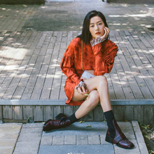 Liu Wen, Tang Yan and the same socks, boots, female autumn and winter 19 leather square-headed, thick-heeled boots, wool, midbarrel stitching elastic boots