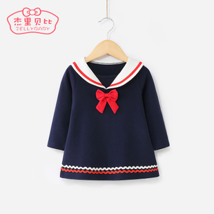 女童学院风连衣裙0-1-3婴儿公主裙小童儿童春装女5-6一岁宝宝裙子