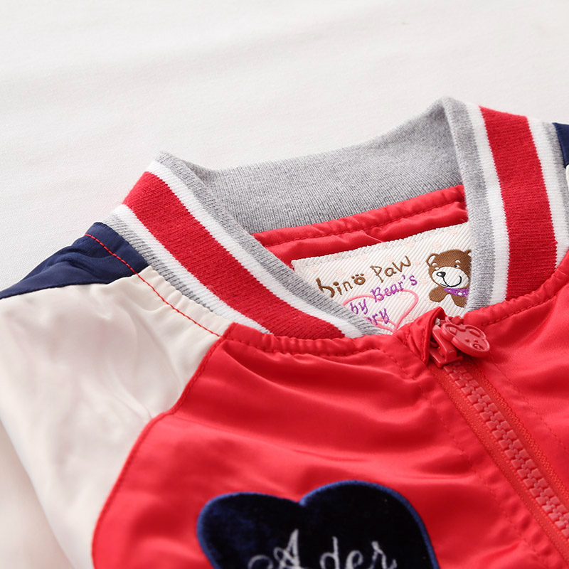 BINPAW儿童女夹克秋2019款韩版洋气拼色精巧绣花色织螺纹拉链外套