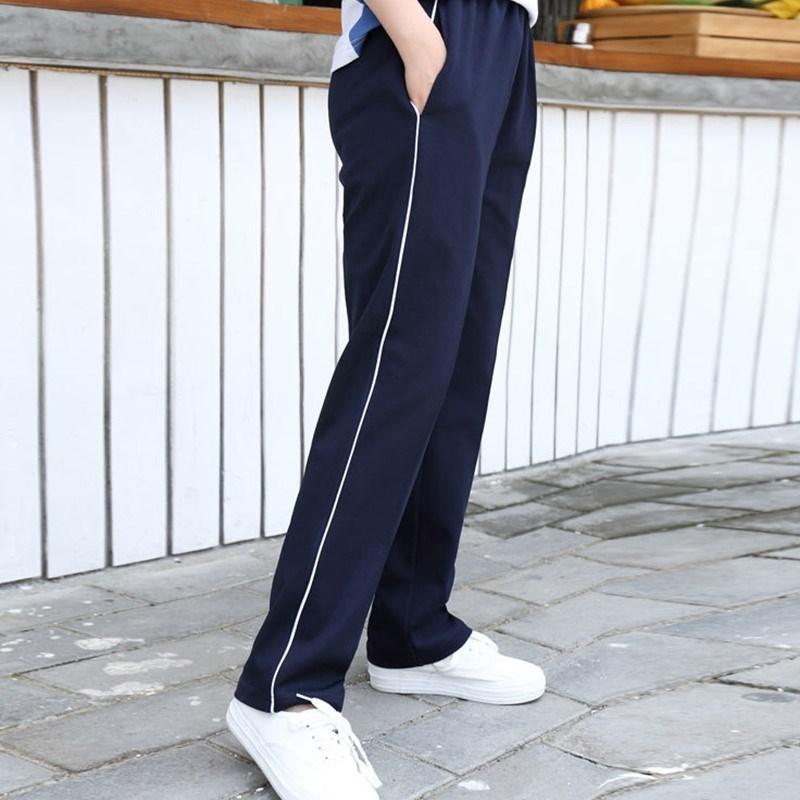 校裤深蓝色细边运动裤男女高中学生一杠校服裤子男长裤白边班服
