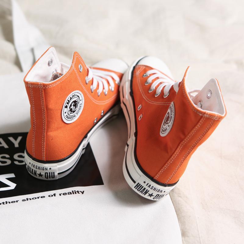 环球1970S小脏橘高帮帆布鞋女韩版街拍ulzzang超火复古港风板鞋潮