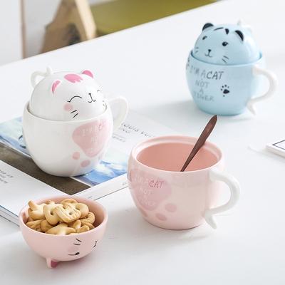 创意猫咪杯子陶瓷马克杯带盖情侣咖啡杯茶杯办公室水杯卡通盖杯