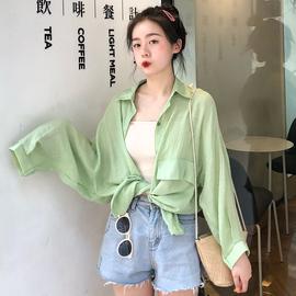 防晒衣女夏韩版长袖雪纺宽松学生衬衣糖果空调防晒衬衫薄款外套图片