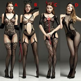 性感女网格丝袜透视连体开档丝袜吊带网衣漏乳紧身制服套装组合骚