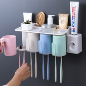 收纳架 卫生间吸壁式牙刷架壁挂洗漱架牙刷筒牙刷杯牙刷置物架套装