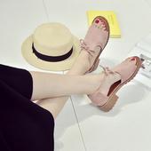 2018新款夏季罗马粗跟平底凉鞋女学生露趾中跟防滑鱼嘴韩版时尚潮