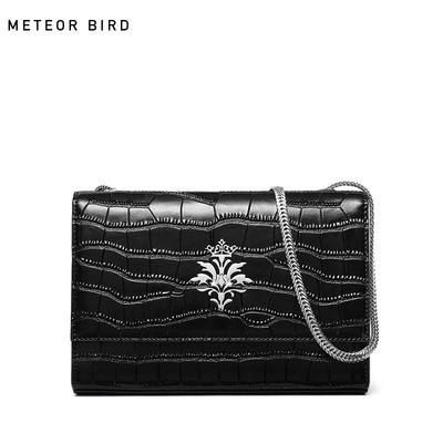 米缇贝蒂包包女2018新款链条包鳄鱼纹牛皮简约斜挎小包时尚单肩包
