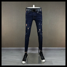 New 2008 Slim Blue Pants for Men Tight and Hole-in Jeans for Young Men with Springy Little Feet for Beggars