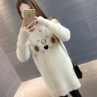 秋冬新款针织衫毛绒加厚毛衣女韩版宽松中长款套头上衣毛衣打底衫