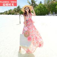 温暖时光沙滩裙夏2019新款波西米亚长裙女海边度假巴厘岛连衣裙