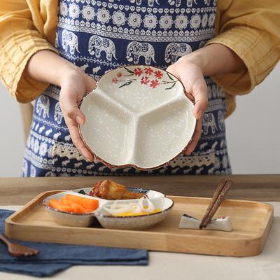 日式和风儿童早餐盘陶瓷三格盘多格盘小菜盘子碟子家用分格餐盘