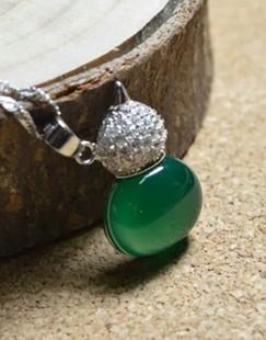 【赠送鉴定书】925纯银项链绿玛瑙平安葫芦吊 镶水钻祖母绿锁骨链
