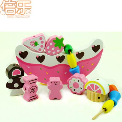 婴儿童水果串珠 叠叠乐积木1-2-3周岁宝宝小孩益智力早教木制玩具
