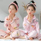 公主女童宝宝小孩空调家居服套装 儿童睡衣女春秋夏季纯棉长袖 薄款图片