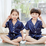 Boys pajamas summer thin ice silk children's home service short-sleeved suit summer big boy boy air-conditioning suit