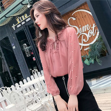 Spring 2020 new Korean version of the super fairy lady hollow nail beads net yarn long sleeve chiffon shirt foreign gas shirt top women