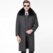 利郎外套男正品新款羊绒大衣男中长款加绒加厚中老年羊毛呢子外套