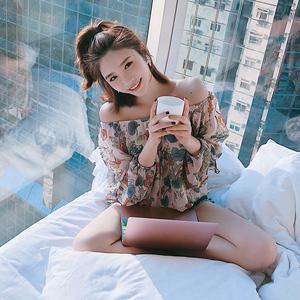图片:子晴花色中长款长袖雪纺衫女一字领夏季新款宽松百搭气质仙女上衣