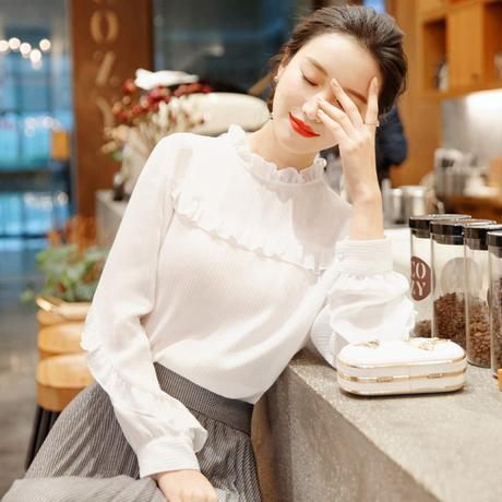 雪纺衫女长袖2019新款春装韩版百搭打底衫很仙的上衣时尚洋气小衫商品大图
