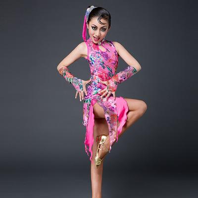 秋冬新款拉丁舞服装儿童流苏旗袍少儿拉丁舞演出服女童拉丁服女孩