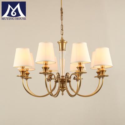 美式全铜水晶布艺吊灯客厅纯铜灯 餐厅书房卧室灯简约美式吊灯