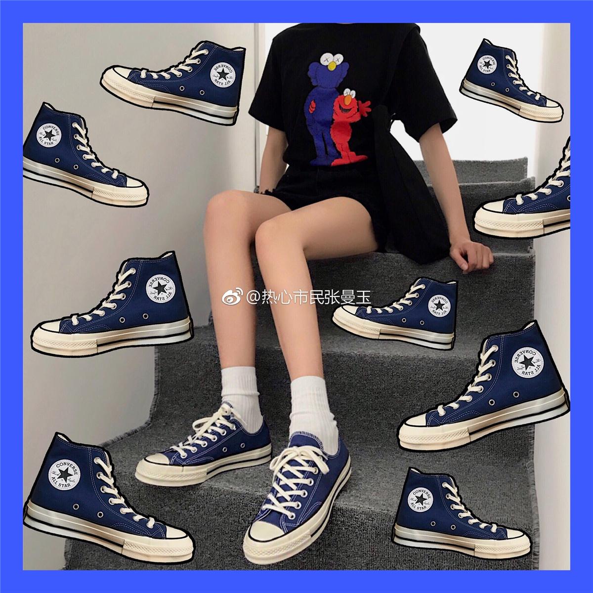 匡威1970S三星标帆布鞋女男 海军蓝高帮低帮男女鞋162064c162055c