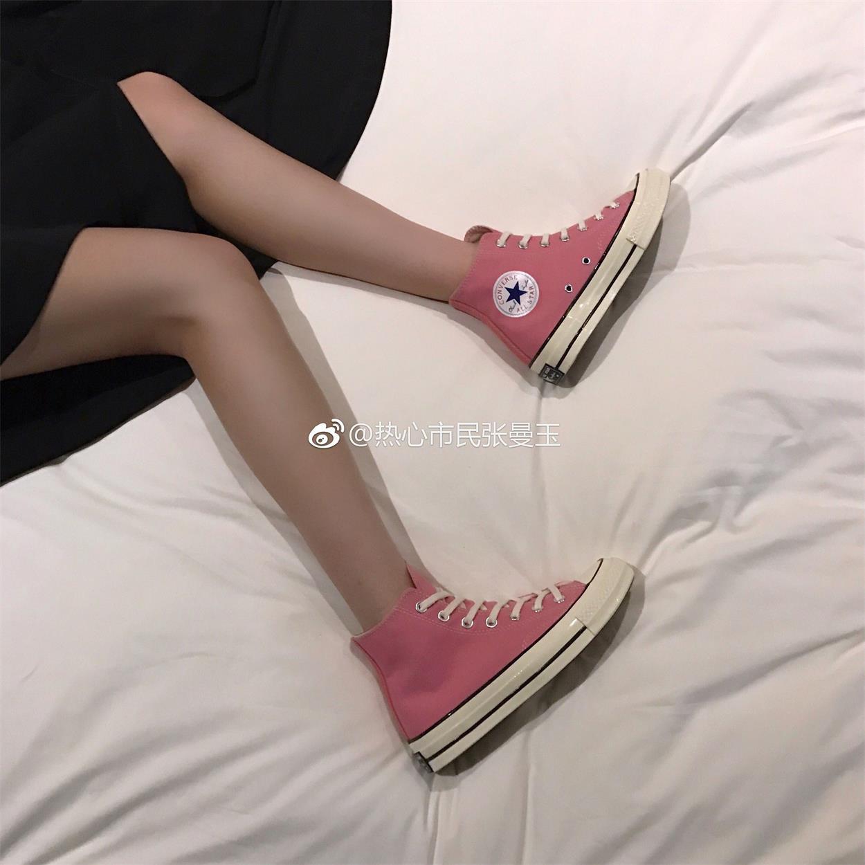 Converse匡威帆布鞋 S 三星标 粉红色 高帮 男女 c