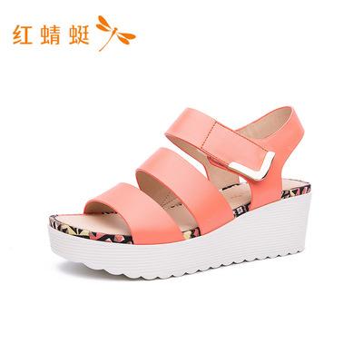 红蜻蜓女鞋2018秋季新款休闲头层牛皮厚底防水坡跟凉鞋女K63203