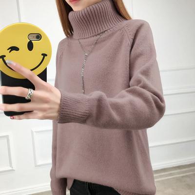 高领毛衣女加厚短款套头针织衫秋冬季新款保暖打底衫百搭学生线衣
