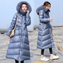 The best net red female models big Dongdaemun long down jacket female 2018 new over the knee was thin thickened hood
