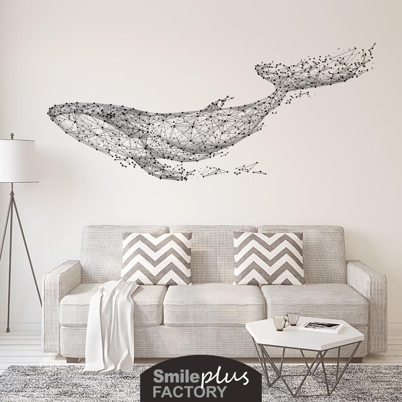 遨游的鲸鱼电视背景墙贴纸创意客厅沙发墙壁装饰卧室床头贴画自粘