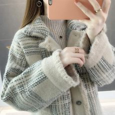 Imitation water jacket jacket female sweater cardigan 2019 spring new knit short paragraph loose very fairy ins super fire