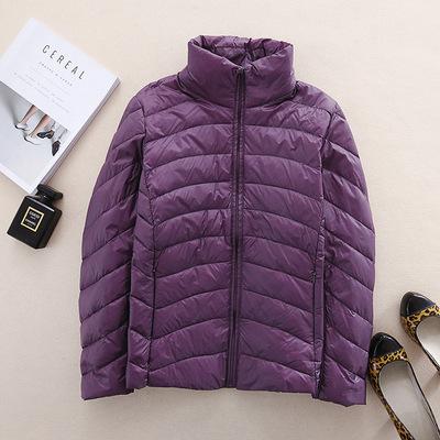 BT品牌女装 秋冬款超轻薄羽绒服女士短款立领时尚0022-1紫色 I9