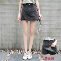 高腰牛仔短裤裙女夏假两件港味复古chic裙子防走光a字短裙半身裙
