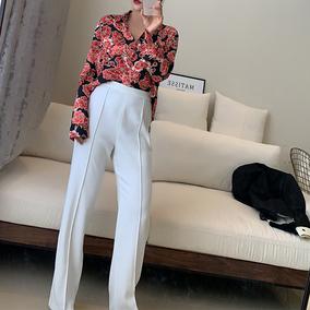2019新款夏白色西装裤女直筒高腰显瘦职业显瘦弹力正装修身裤子女