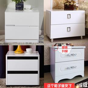 简易欧式烤漆床头柜简约现代象牙白色韩式美式卧室实木柜子包邮