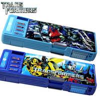 Transformers pen box boy primary school girl automatic pencil box double-sided children multi-function graffiti stationery