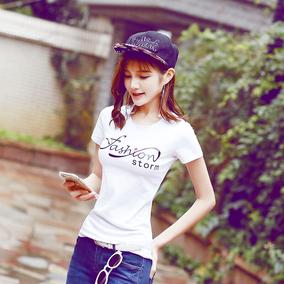 夏装新款白色纯棉t恤女2019时尚韩版百搭修身印花字母上衣打底衫