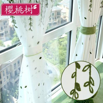 棉麻简约现代客厅卧室绿色小清新绣花田园定制落地窗布料成品窗帘新款推荐