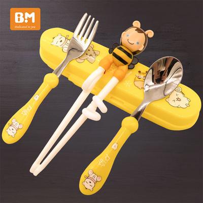 儿童筷子训练筷一段家用小孩餐具吃饭勺子叉宝宝学习练习套装男孩