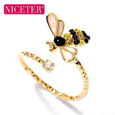 韩国可爱小蜜蜂戒指女款个性时尚饰品开口食指指环手工潮流装饰品