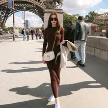 长款 毛衣长裙女修身 打底针织包臀连衣裙 2018秋季韩版 显瘦气质时尚图片