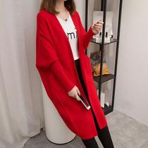宽松休闲针织衫女开衫秋季韩版蝙蝠袖毛衣外套中长款大码2018新款